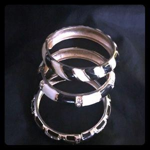 Vintage Black/White/Gold Bangle Bracelets x 3